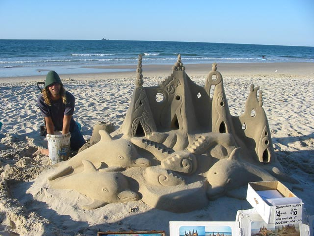 Sand castle with dolphins